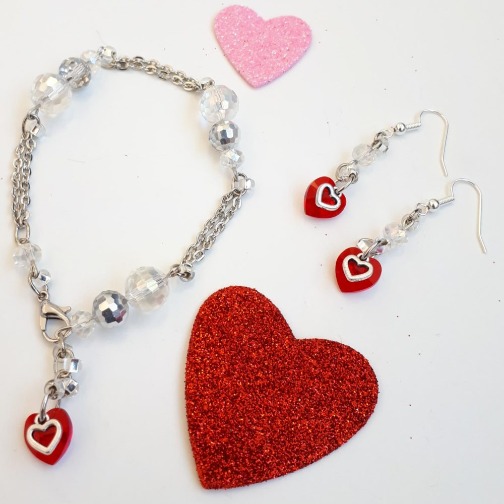 All You Need Is Love Swarovski Heart Earrings Bracelet Set